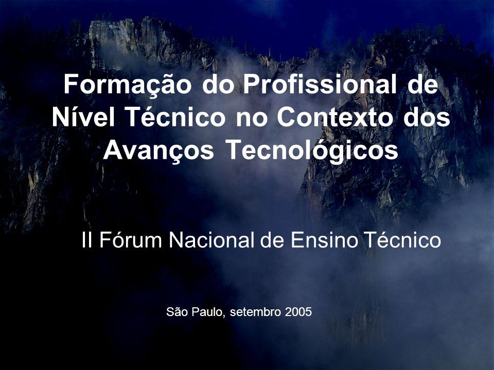 II Fórum Nacional de Ensino Técnico Formação do Profissional de Nível Técnico no Contexto dos Avanços Tecnológicos São Paulo, setembro 2005