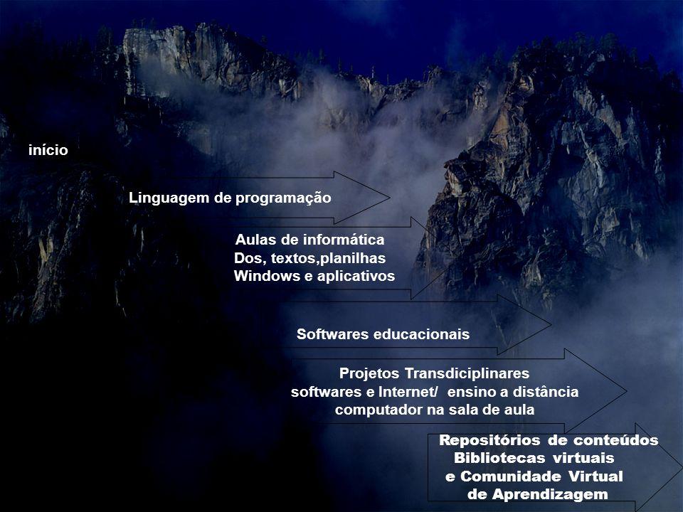 início Aulas de informática Dos, textos,planilhas Windows e aplicativos Softwares educacionais Projetos Transdiciplinares softwares e Internet/ ensino a distância computador na sala de aula Linguagem de programação Repositórios de conteúdos Bibliotecas virtuais e Comunidade Virtual de Aprendizagem