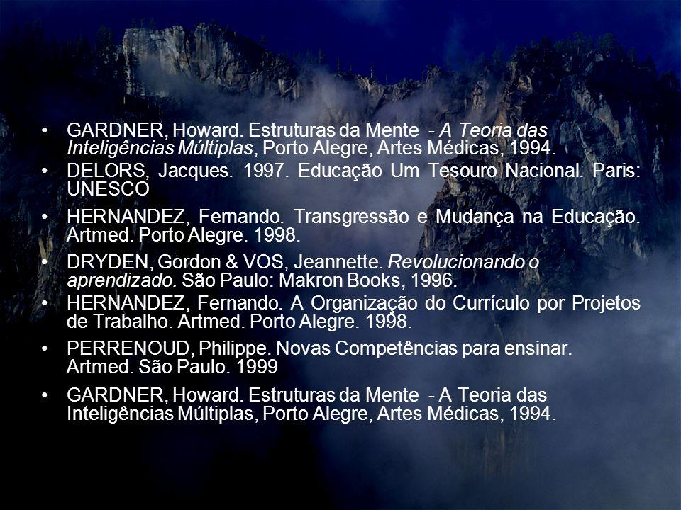 GARDNER, Howard. Estruturas da Mente - A Teoria das Inteligências Múltiplas, Porto Alegre, Artes Médicas, 1994. DELORS, Jacques. 1997. Educação Um Tes