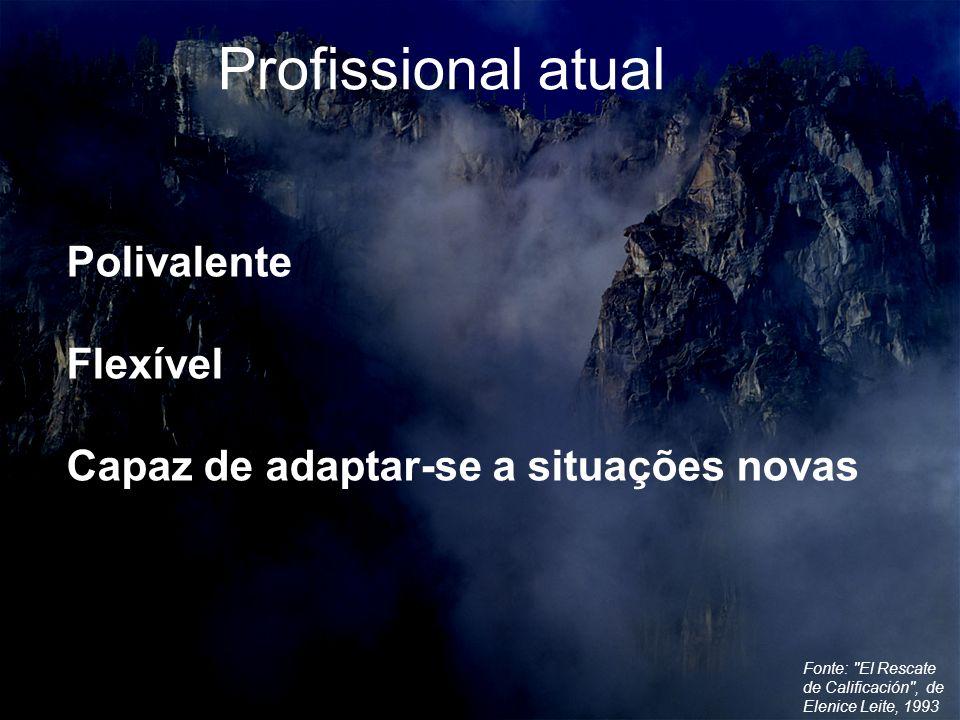 Fonte: El Rescate de Calificación , de Elenice Leite, 1993 Polivalente Flexível Capaz de adaptar-se a situações novas Profissional atual