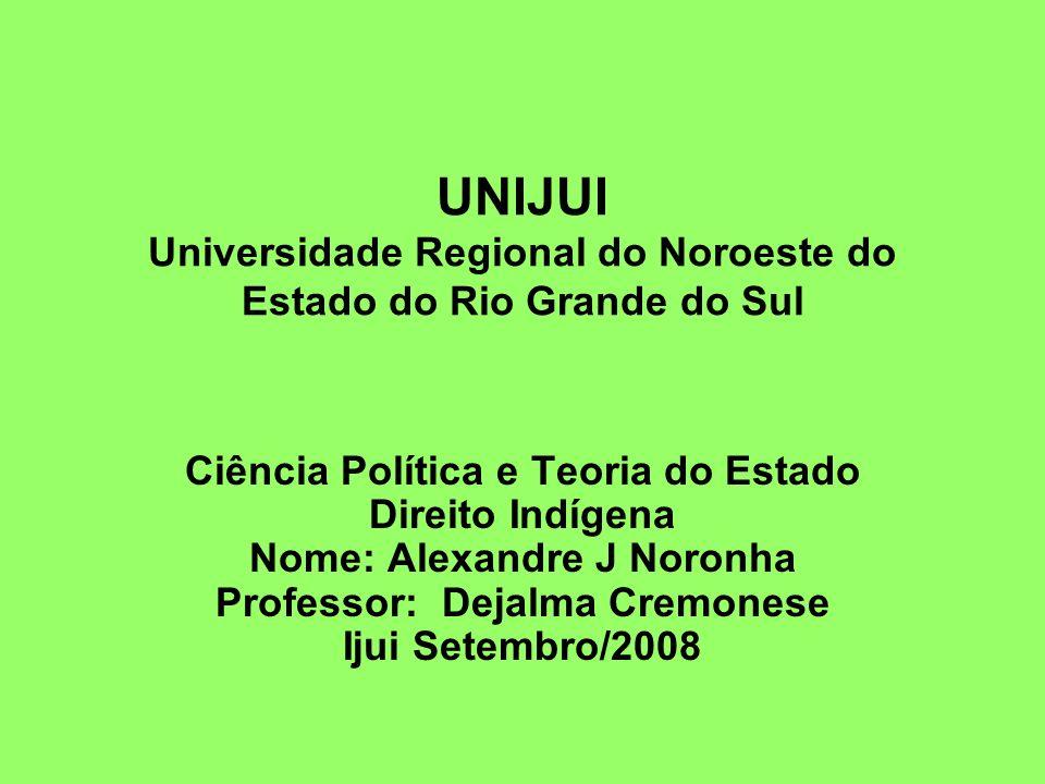 UNIJUI Universidade Regional do Noroeste do Estado do Rio Grande do Sul Ciência Política e Teoria do Estado Direito Indígena Nome: Alexandre J Noronha