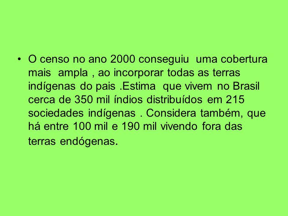 O censo no ano 2000 conseguiu uma cobertura mais ampla, ao incorporar todas as terras indígenas do pais.Estima que vivem no Brasil cerca de 350 mil ín