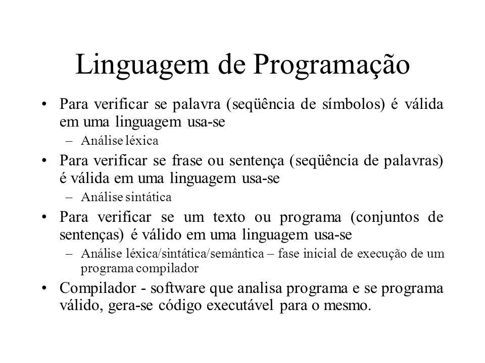 Linguagem de Programação Para verificar se palavra (seqüência de símbolos) é válida em uma linguagem usa-se –Análise léxica Para verificar se frase ou