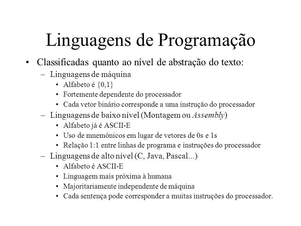 Linguagens de Programação Classificadas quanto ao nível de abstração do texto: –Linguagens de máquina Alfabeto é {0,1} Fortemente dependente do proces