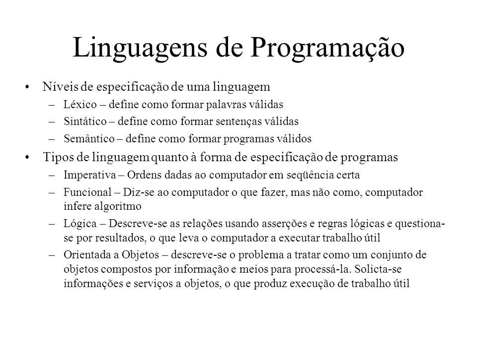 Linguagens de Programação Níveis de especificação de uma linguagem –Léxico – define como formar palavras válidas –Sintático – define como formar sente