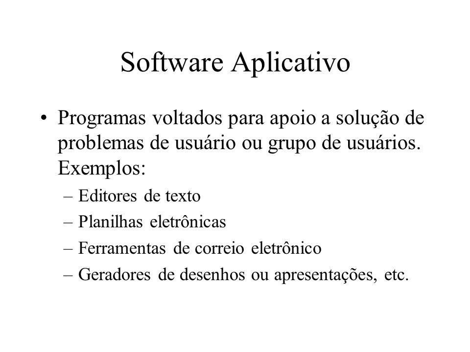 Software Aplicativo Programas voltados para apoio a solução de problemas de usuário ou grupo de usuários. Exemplos: –Editores de texto –Planilhas elet