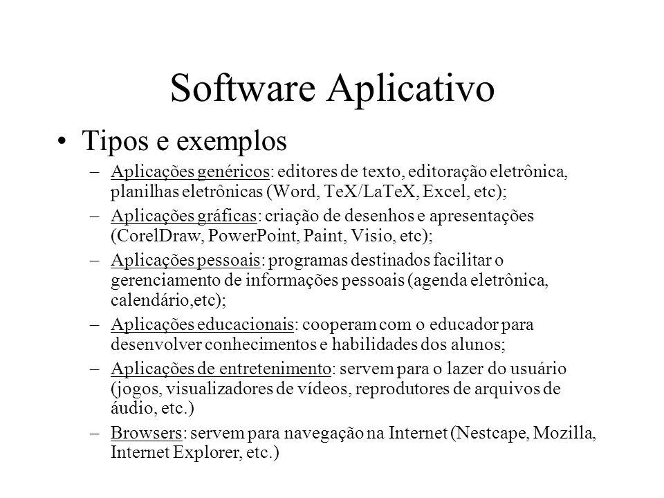 Software Aplicativo Tipos e exemplos –Aplicações genéricos: editores de texto, editoração eletrônica, planilhas eletrônicas (Word, TeX/LaTeX, Excel, e