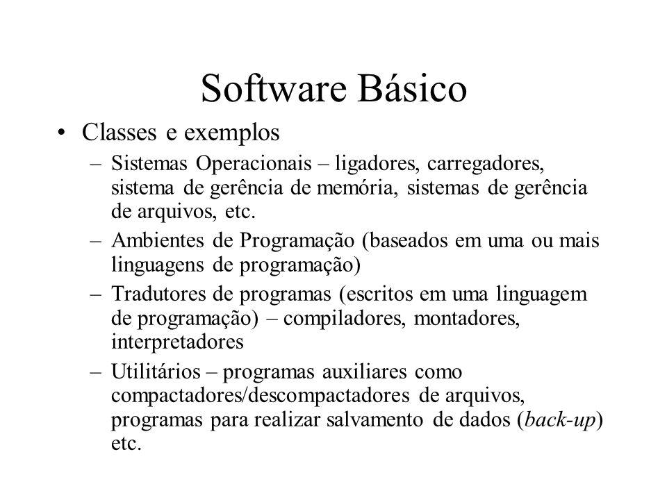 Software Básico Classes e exemplos –Sistemas Operacionais – ligadores, carregadores, sistema de gerência de memória, sistemas de gerência de arquivos,