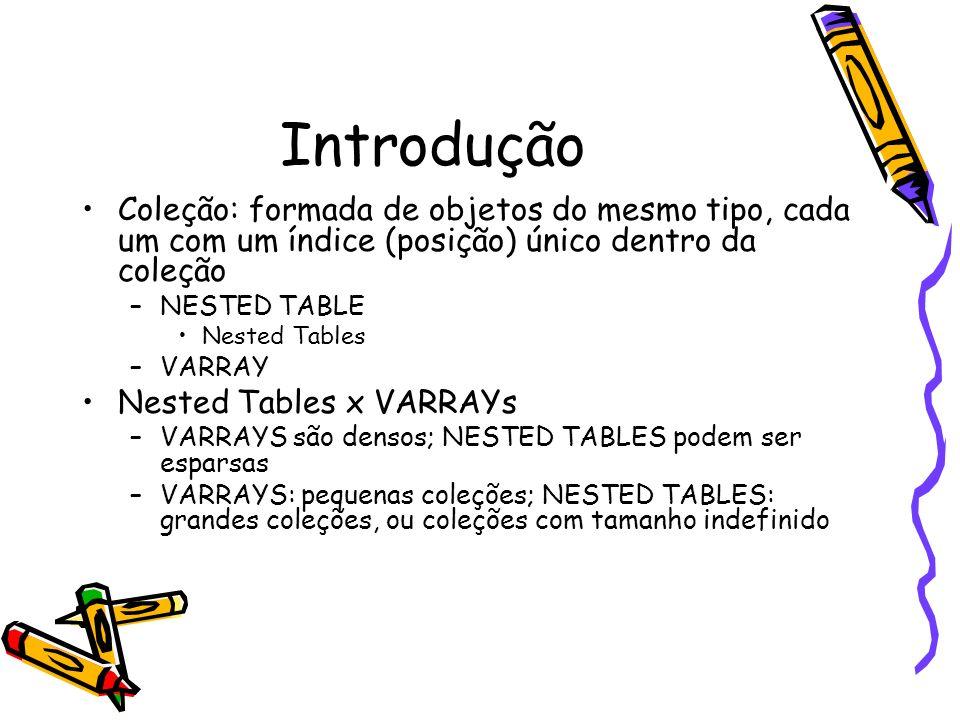 Coleções Multidimensionais - Nested Tables declare type tb1 is table of varchar2(20); type ntb1 is table of tb1; /* tabela com elementos também tabelas */ type tv1 is varray(10) of integer; type ntb2 is table of tv1; /* tabela com elementos VARRAY */ vtb1 tb1 := tb1( one , three ); vntb1 ntb1 := ntb1(vtb1); vntb2 ntb2 :=ntb2(tv1(3,5), tv1(5,7,3)); /* tabela com elementos VARRAY */