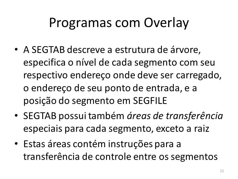 Programas com Overlay A SEGTAB descreve a estrutura de árvore, especifica o nível de cada segmento com seu respectivo endereço onde deve ser carregado
