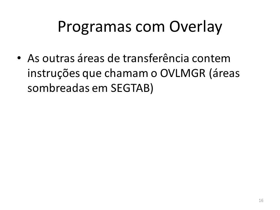 Programas com Overlay As outras áreas de transferência contem instruções que chamam o OVLMGR (áreas sombreadas em SEGTAB) 16