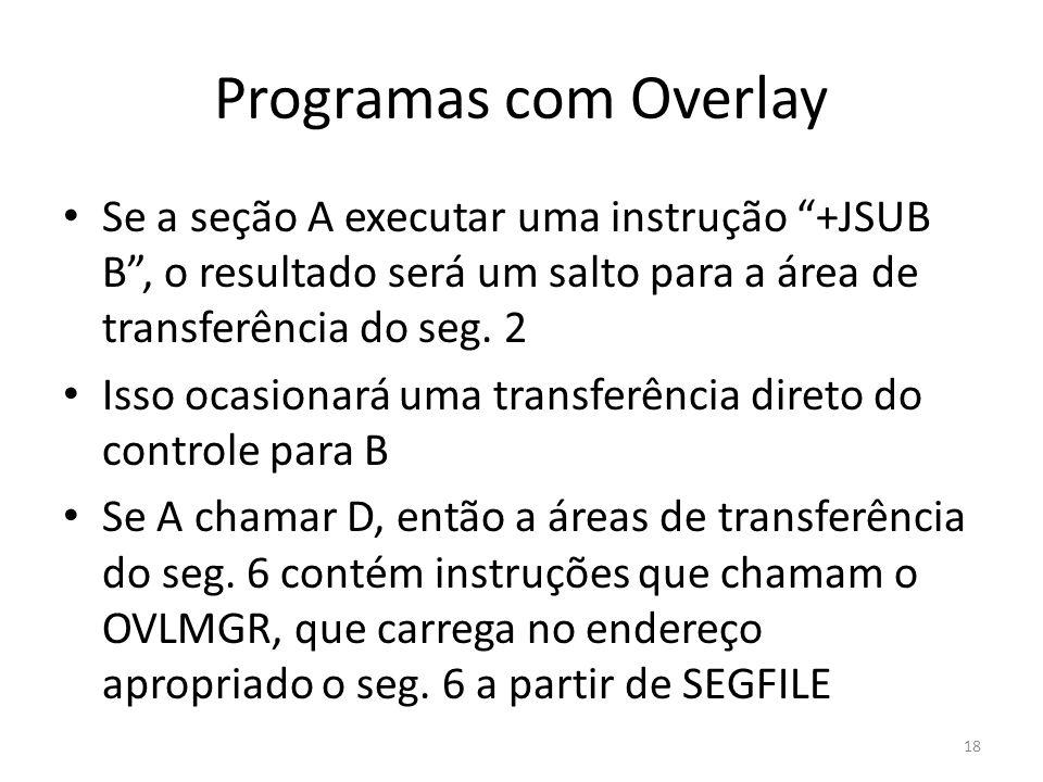Programas com Overlay Se a seção A executar uma instrução +JSUB B, o resultado será um salto para a área de transferência do seg. 2 Isso ocasionará um