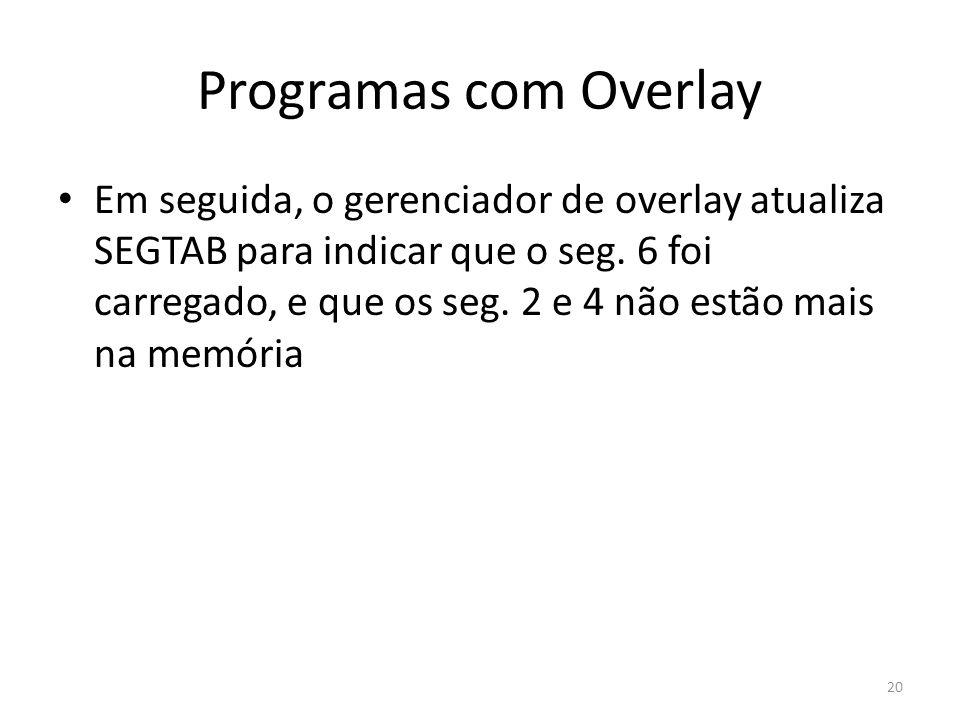 Programas com Overlay Em seguida, o gerenciador de overlay atualiza SEGTAB para indicar que o seg. 6 foi carregado, e que os seg. 2 e 4 não estão mais