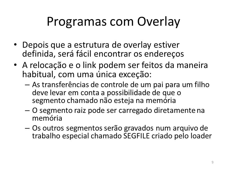Programas com Overlay Em seguida, o gerenciador de overlay atualiza SEGTAB para indicar que o seg.