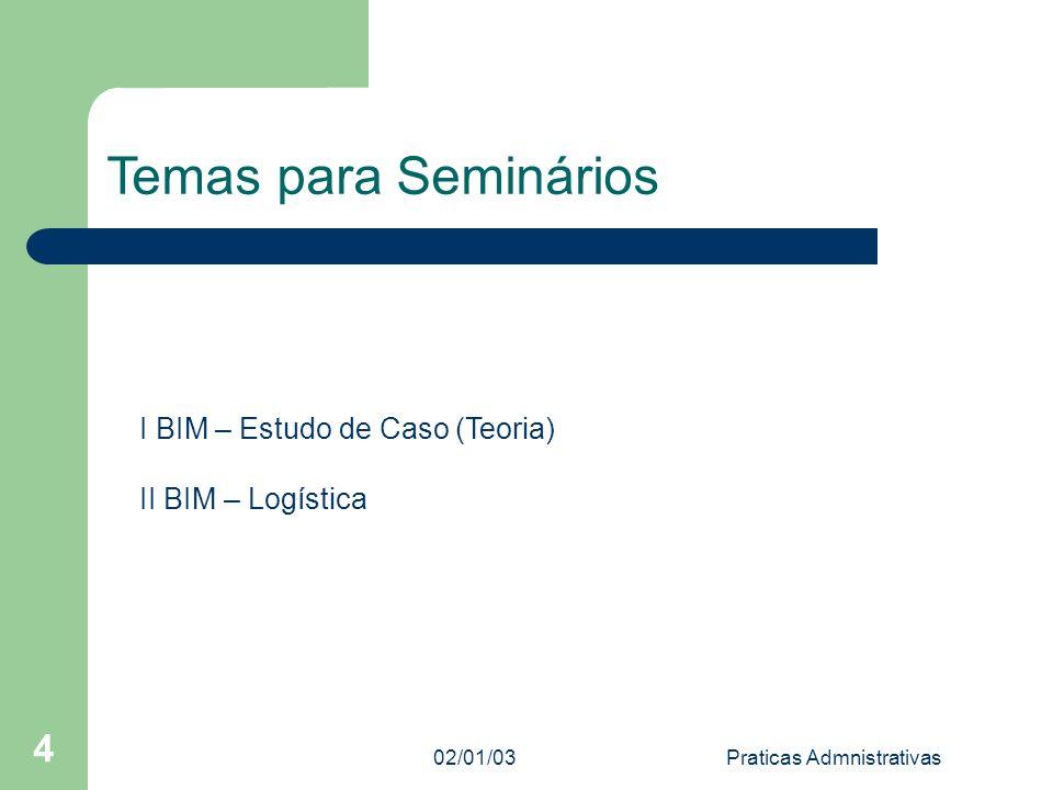 02/01/03Praticas Admnistrativas 4 Temas para Seminários I BIM – Estudo de Caso (Teoria) II BIM – Logística