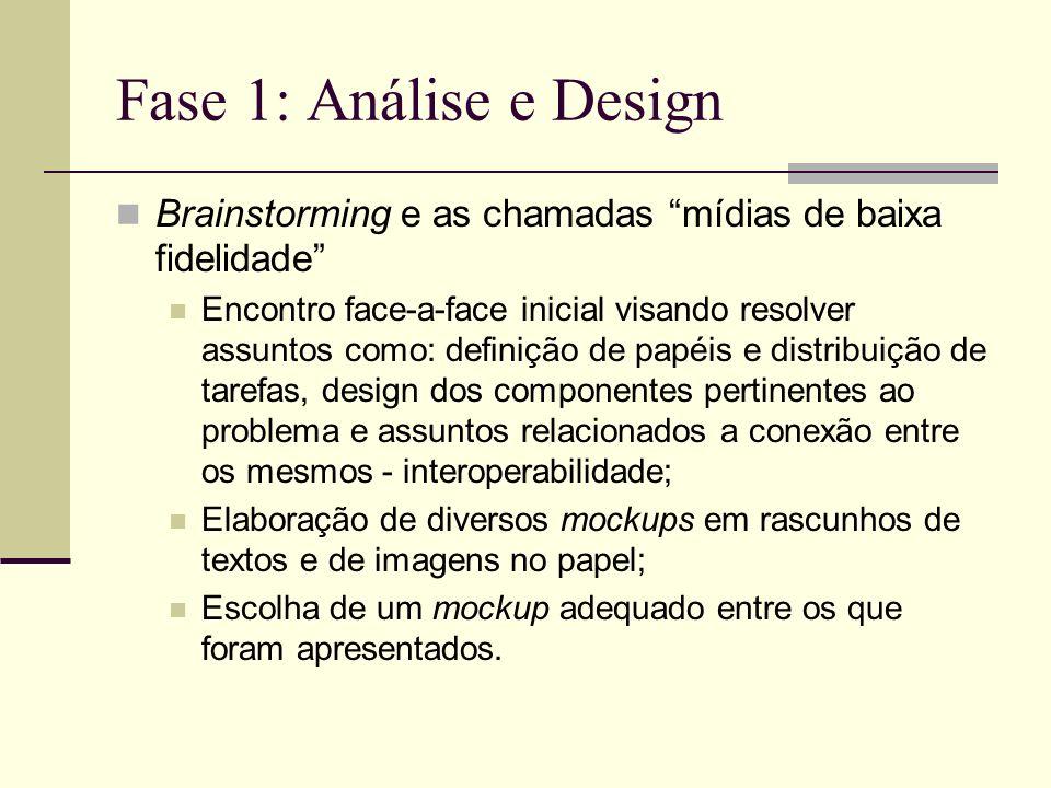 Fase 1: Análise e Design Brainstorming e as chamadas mídias de baixa fidelidade Encontro face-a-face inicial visando resolver assuntos como: definição