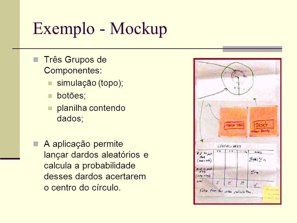 Exemplo - Mockup Três Grupos de Componentes: simulação (topo); botões; planilha contendo dados; A aplicação permite lançar dardos aleatórios e calcula
