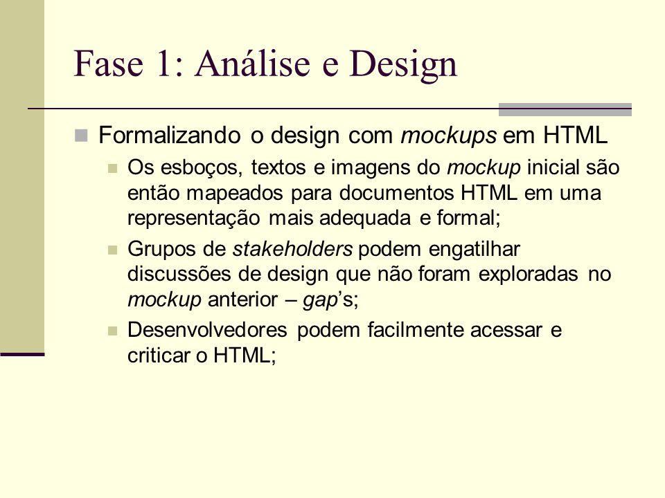 Fase 1: Análise e Design Formalizando o design com mockups em HTML Os esboços, textos e imagens do mockup inicial são então mapeados para documentos H