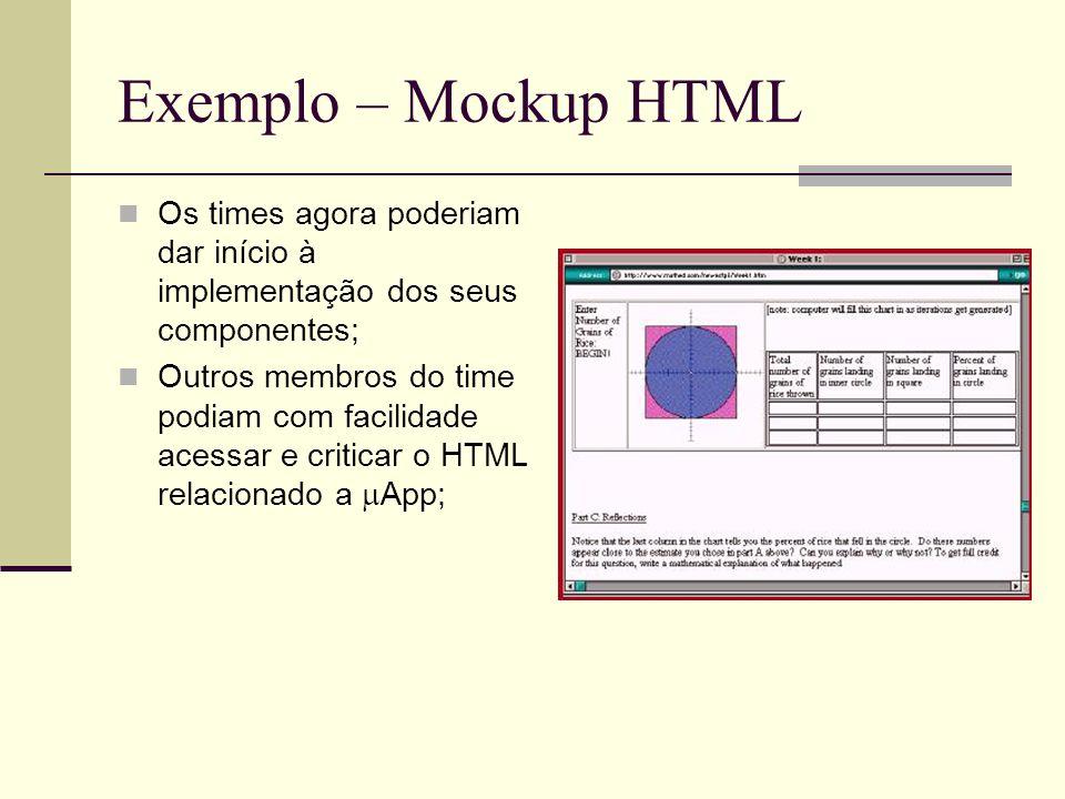 Exemplo – Mockup HTML Os times agora poderiam dar início à implementação dos seus componentes; Outros membros do time podiam com facilidade acessar e criticar o HTML relacionado a App;