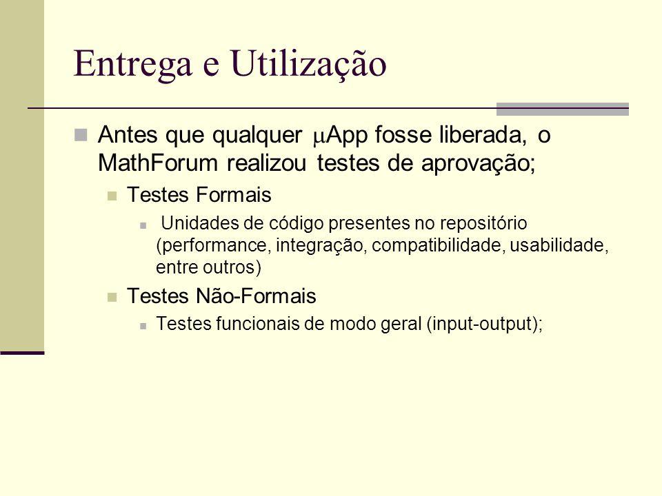 Entrega e Utilização Antes que qualquer App fosse liberada, o MathForum realizou testes de aprovação; Testes Formais Unidades de código presentes no repositório (performance, integração, compatibilidade, usabilidade, entre outros) Testes Não-Formais Testes funcionais de modo geral (input-output);