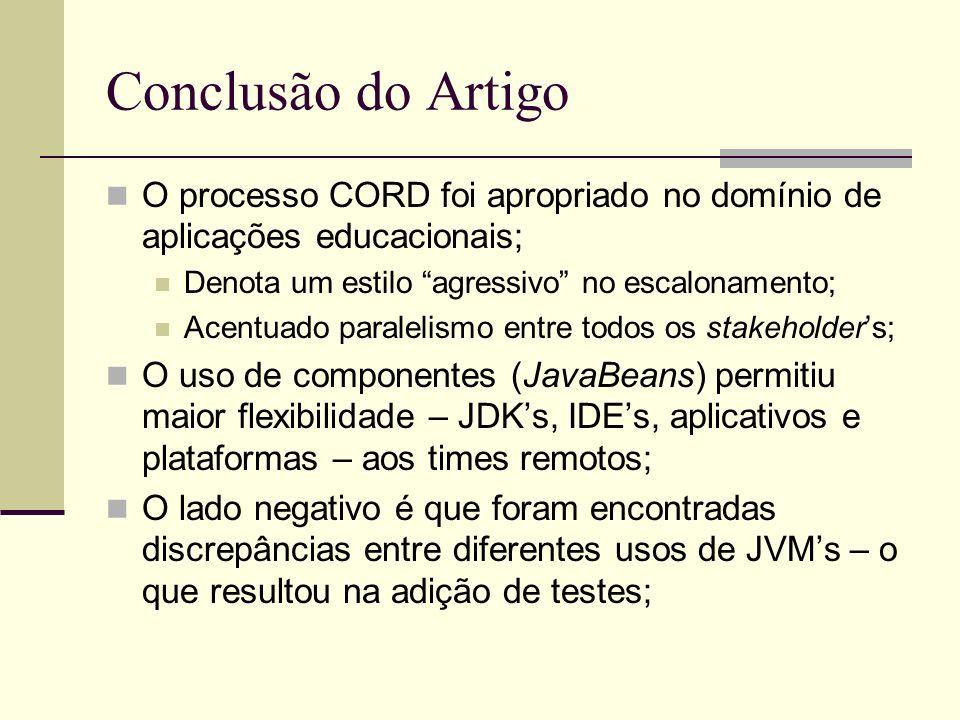 Conclusão do Artigo O processo CORD foi apropriado no domínio de aplicações educacionais; Denota um estilo agressivo no escalonamento; Acentuado paral