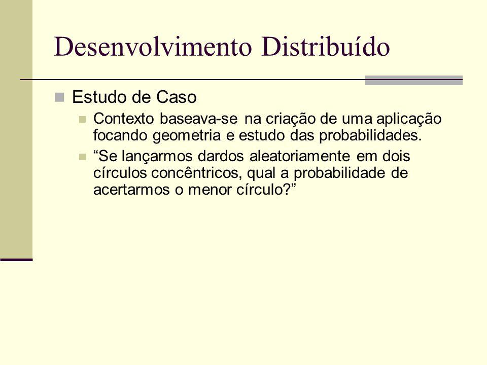 Desenvolvimento Distribuído Estudo de Caso Contexto baseava-se na criação de uma aplicação focando geometria e estudo das probabilidades.