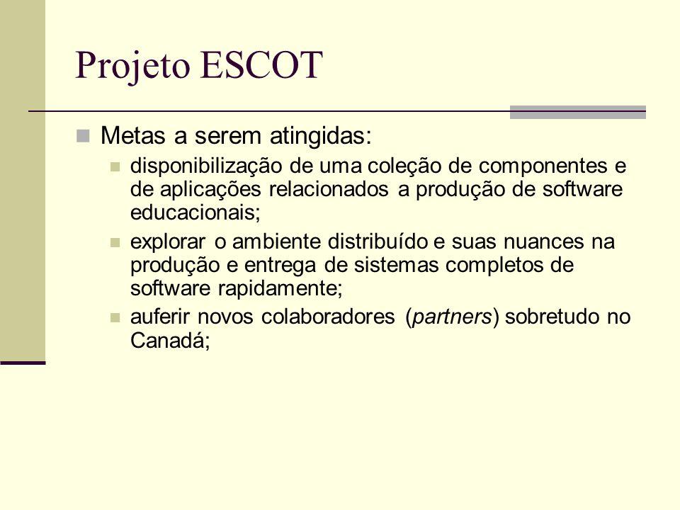 Projeto ESCOT Metas a serem atingidas: disponibilização de uma coleção de componentes e de aplicações relacionados a produção de software educacionais