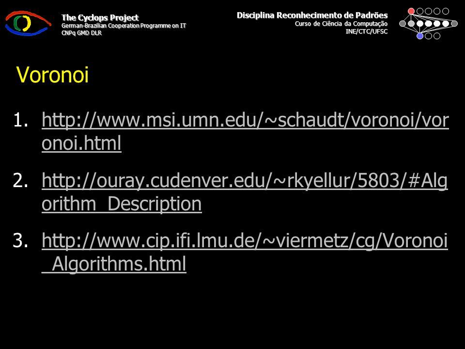 Disciplina Reconhecimento de Padrões Curso de Ciência da Computação INE/CTC/UFSC The Cyclops Project German-Brazilian Cooperation Programme on IT CNPq GMD DLR Voronoi 1.Para CADA vértice: 1.Calcular Mediatriz: 1.http://www.dm.ufscar.br/~caetano/SiteDG/ICSilvia/Mediatriz.htmhttp://www.dm.ufscar.br/~caetano/SiteDG/ICSilvia/Mediatriz.htm 2.Para CADA mediatriz: 1.Verificar Pontos de Intersecção: 1.http://www.somatematica.com.br/emedio/retas/retas8.phtml 3.Determinar Polígonos (Regiões): 1.Conectar Pontos de Intersecção.