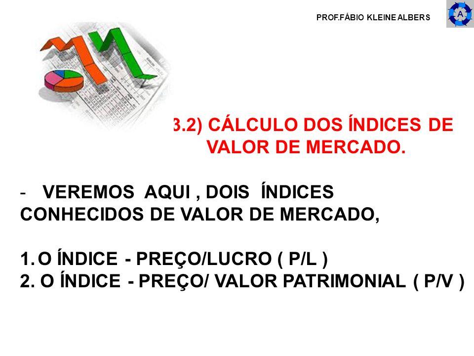 PROF.FÁBIO KLEINE ALBERS 3.2) CÁLCULO DOS ÍNDICES DE VALOR DE MERCADO. - VEREMOS AQUI, DOIS ÍNDICES CONHECIDOS DE VALOR DE MERCADO, 1.O ÍNDICE - PREÇO