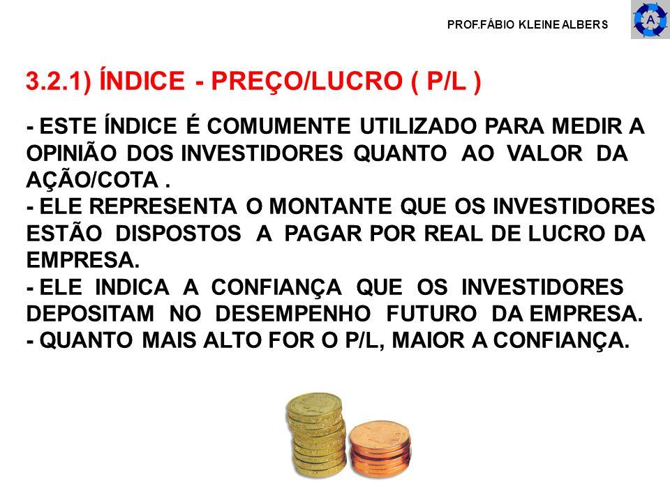 PROF.FÁBIO KLEINE ALBERS 3.2.1) ÍNDICE - PREÇO/LUCRO ( P/L ) - ESTE ÍNDICE É COMUMENTE UTILIZADO PARA MEDIR A OPINIÃO DOS INVESTIDORES QUANTO AO VALOR