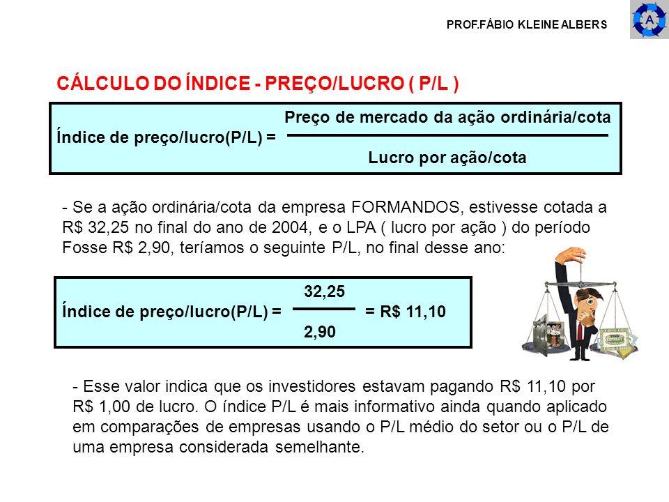 PROF.FÁBIO KLEINE ALBERS Preço de mercado da ação ordinária/cota Índice de preço/lucro(P/L) = Lucro por ação/cota CÁLCULO DO ÍNDICE - PREÇO/LUCRO ( P/