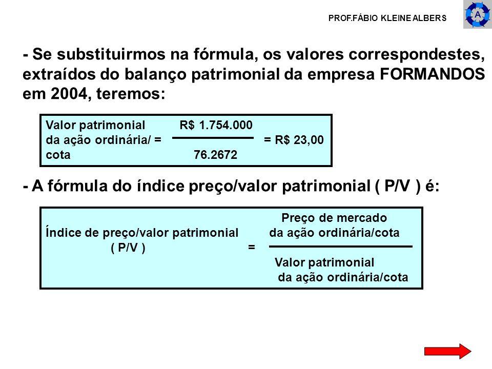 PROF.FÁBIO KLEINE ALBERS - Se substituirmos na fórmula, os valores correspondestes, extraídos do balanço patrimonial da empresa FORMANDOS em 2004, ter