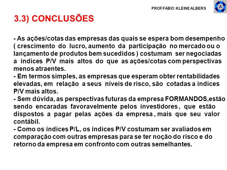 PROF.FÁBIO KLEINE ALBERS 3.3) CONCLUSÕES - As ações/cotas das empresas das quais se espera bom desempenho ( crescimento do lucro, aumento da participa
