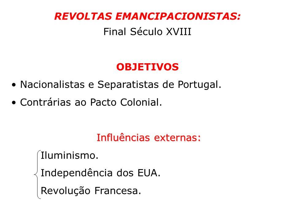 REVOLTAS EMANCIPACIONISTAS: Final Século XVIII OBJETIVOS Nacionalistas e Separatistas de Portugal. Contrárias ao Pacto Colonial. Influências externas: