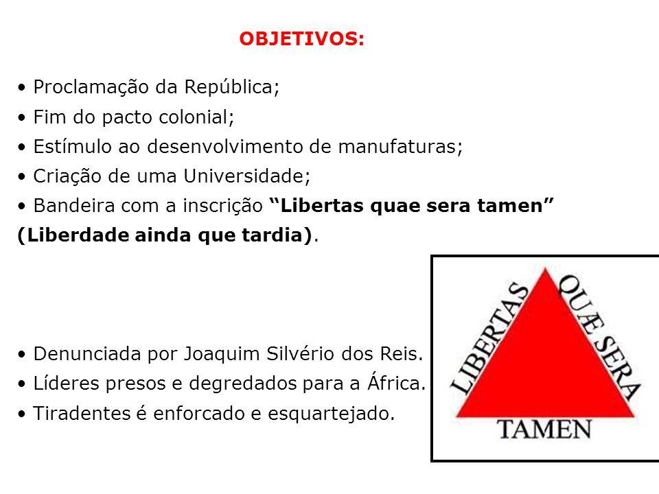 OBJETIVOS: Proclamação da República; Fim do pacto colonial; Estímulo ao desenvolvimento de manufaturas; Criação de uma Universidade; Bandeira com a in