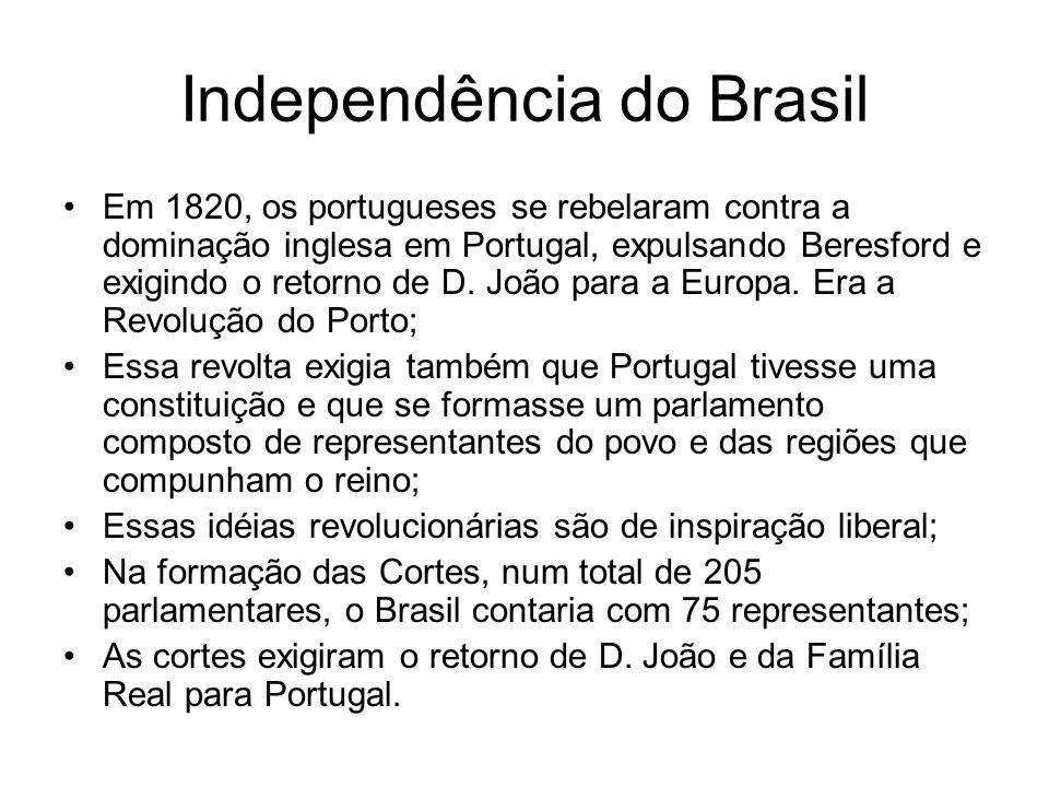 Independência do Brasil Em 1820, os portugueses se rebelaram contra a dominação inglesa em Portugal, expulsando Beresford e exigindo o retorno de D. J