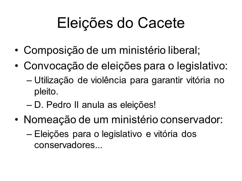 Eleições do Cacete Composição de um ministério liberal; Convocação de eleições para o legislativo: –Utilização de violência para garantir vitória no p