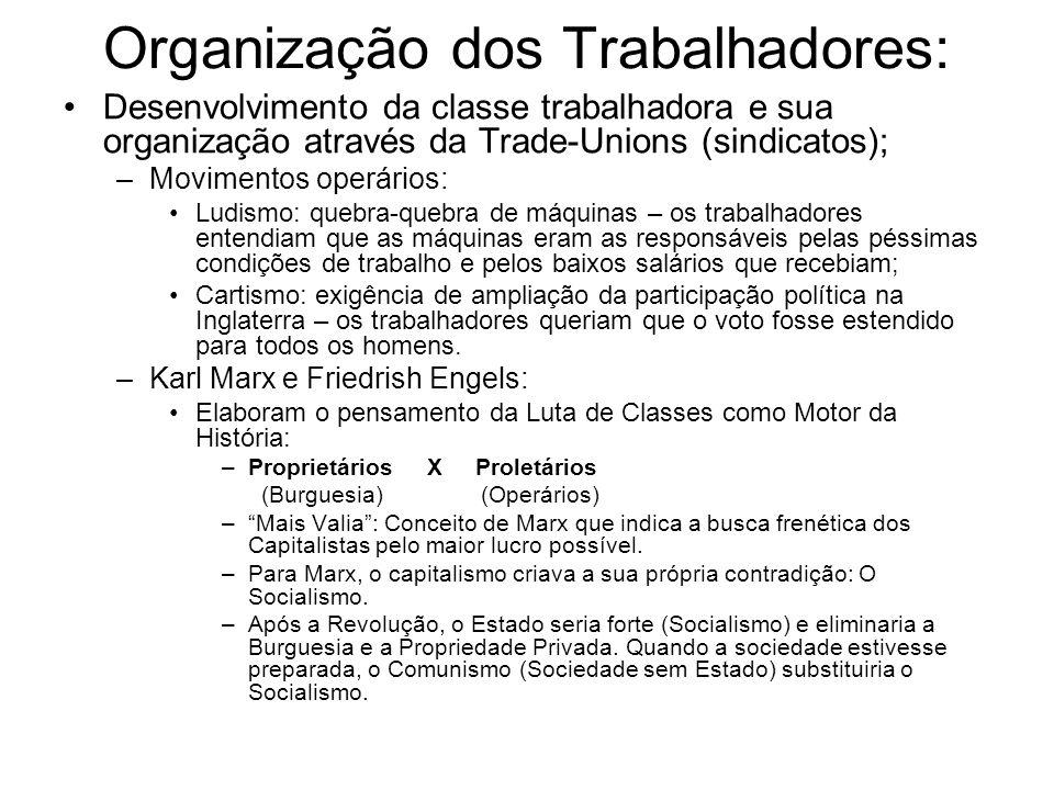 Organização dos Trabalhadores: Desenvolvimento da classe trabalhadora e sua organização através da Trade-Unions (sindicatos); –Movimentos operários: L
