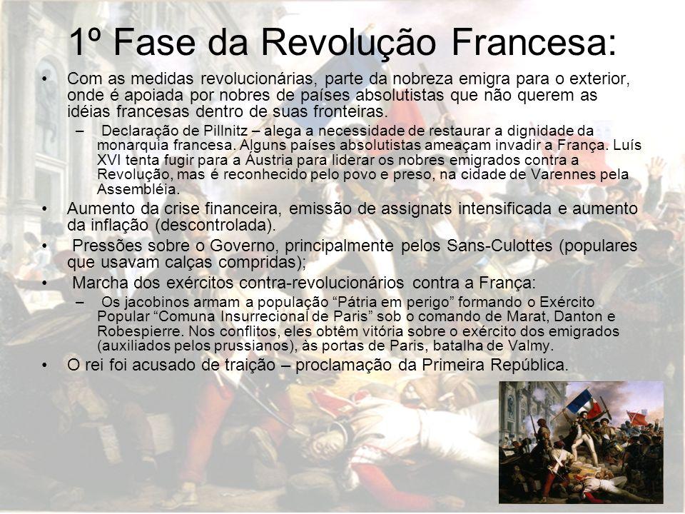 1º Fase da Revolução Francesa: Com as medidas revolucionárias, parte da nobreza emigra para o exterior, onde é apoiada por nobres de países absolutist