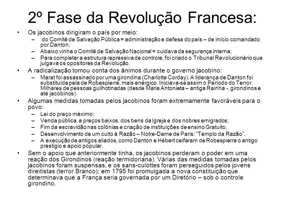 2º Fase da Revolução Francesa: Os jacobinos dirigiram o país por meio: – do Comitê de Salvação Pública = administração e defesa do país – de início co