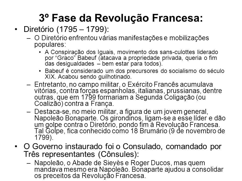 3º Fase da Revolução Francesa: Diretório (1795 – 1799): –O Diretório enfrentou várias manifestações e mobilizações populares: A Conspiração dos Iguais