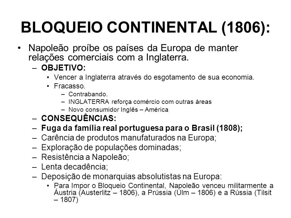 BLOQUEIO CONTINENTAL (1806): Napoleão proíbe os países da Europa de manter relações comerciais com a Inglaterra. –OBJETIVO: Vencer a Inglaterra atravé