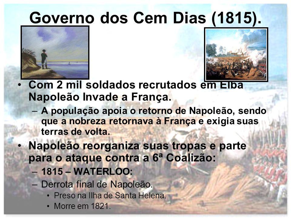 Governo dos Cem Dias (1815). Com 2 mil soldados recrutados em Elba Napoleão Invade a França. –A população apoia o retorno de Napoleão, sendo que a nob