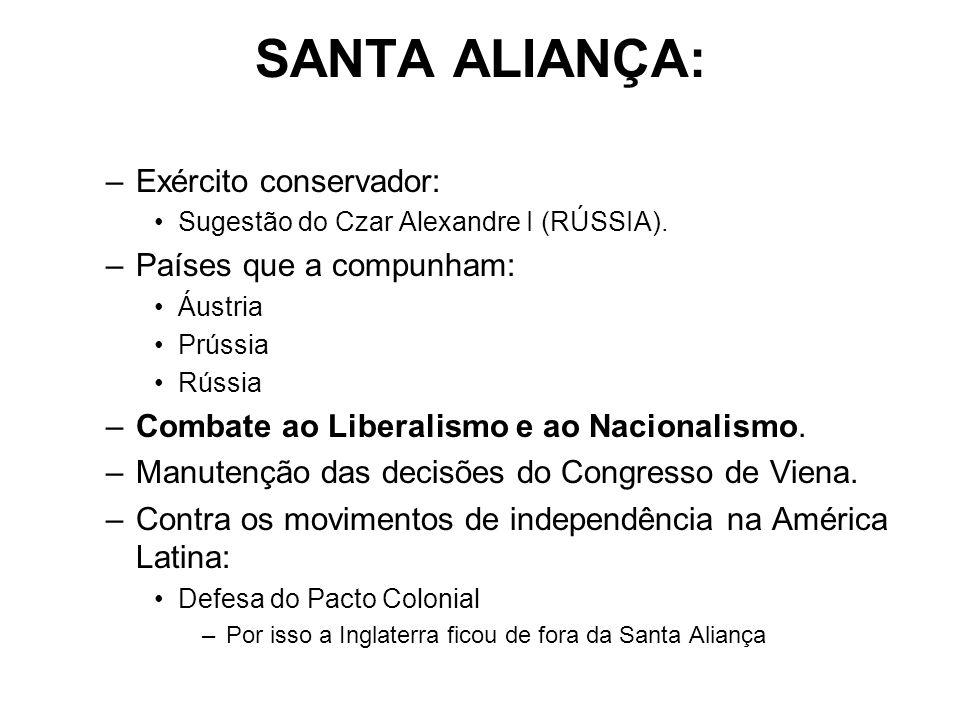 SANTA ALIANÇA: –Exército conservador: Sugestão do Czar Alexandre I (RÚSSIA). –Países que a compunham: Áustria Prússia Rússia –Combate ao Liberalismo e