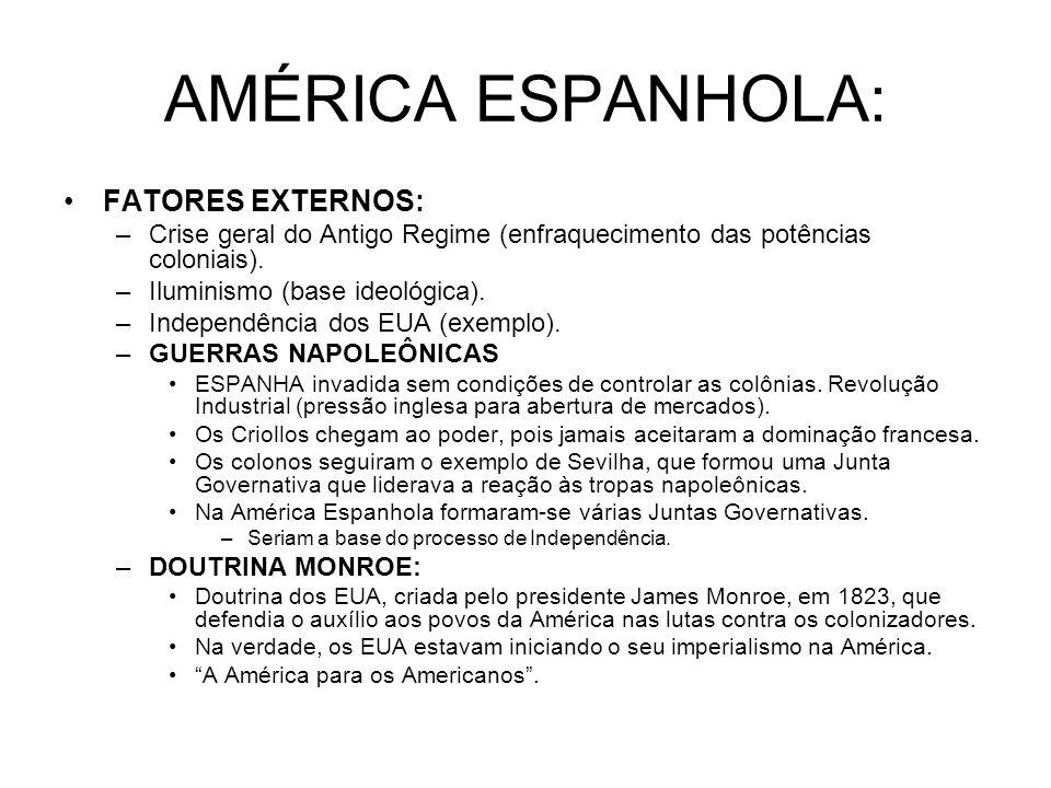 AMÉRICA ESPANHOLA: FATORES EXTERNOS: –Crise geral do Antigo Regime (enfraquecimento das potências coloniais). –Iluminismo (base ideológica). –Independ