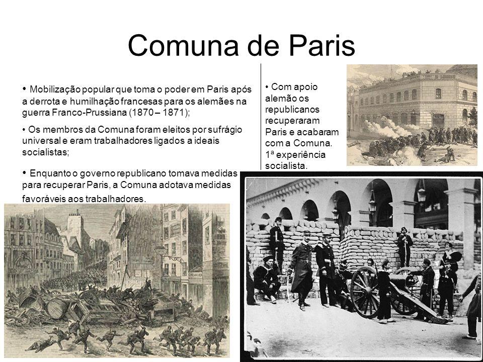 Comuna de Paris Mobilização popular que toma o poder em Paris após a derrota e humilhação francesas para os alemães na guerra Franco-Prussiana (1870 –
