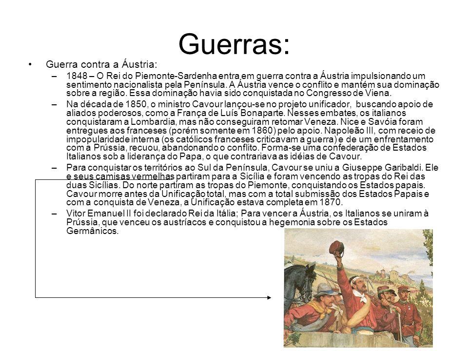 Guerras: Guerra contra a Áustria: –1848 – O Rei do Piemonte-Sardenha entra em guerra contra a Áustria impulsionando um sentimento nacionalista pela Pe