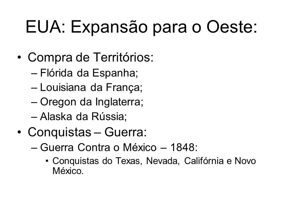EUA: Expansão para o Oeste: Compra de Territórios: –Flórida da Espanha; –Louisiana da França; –Oregon da Inglaterra; –Alaska da Rússia; Conquistas – G