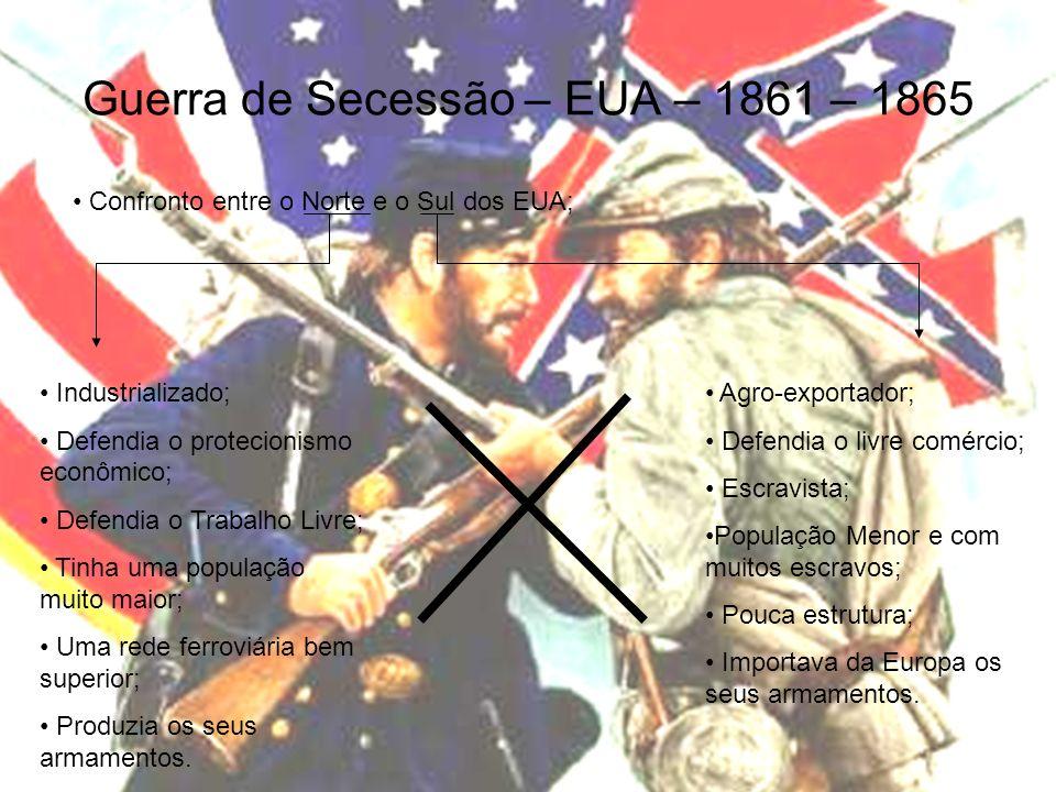 Guerra de Secessão – EUA – 1861 – 1865 Confronto entre o Norte e o Sul dos EUA; Industrializado; Defendia o protecionismo econômico; Defendia o Trabal