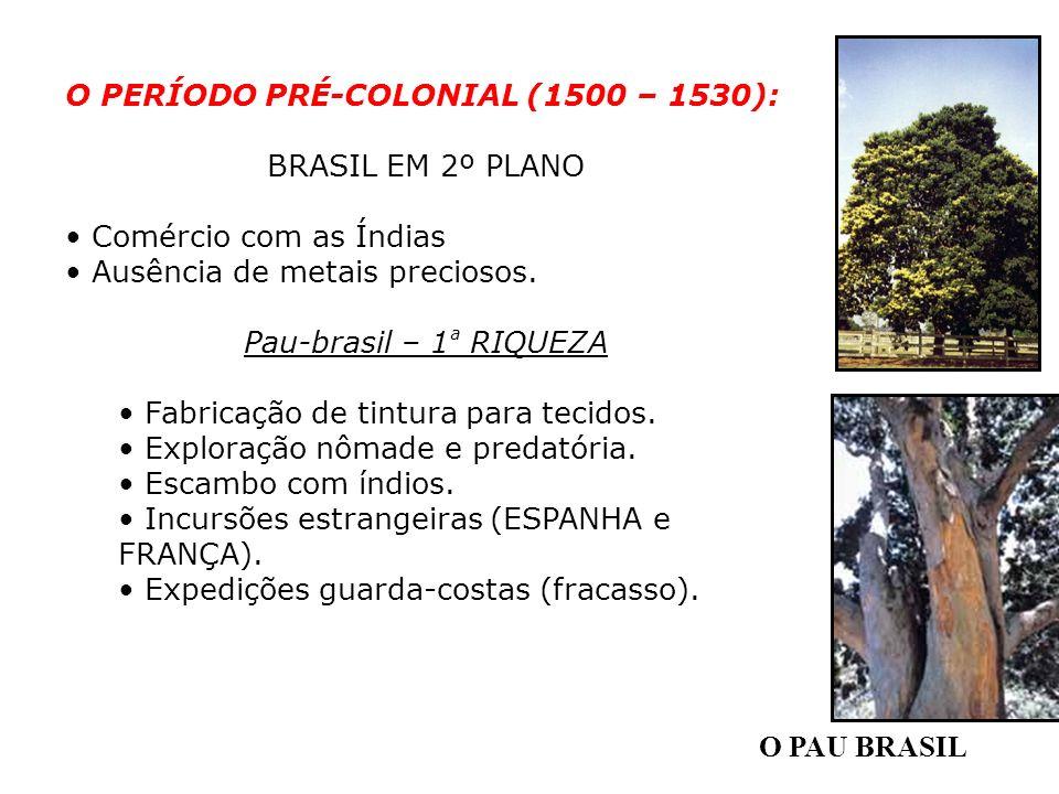 O PAU BRASIL O PERÍODO PRÉ-COLONIAL (1500 – 1530): BRASIL EM 2º PLANO Comércio com as Índias Ausência de metais preciosos. Pau-brasil – 1 ª RIQUEZA Fa
